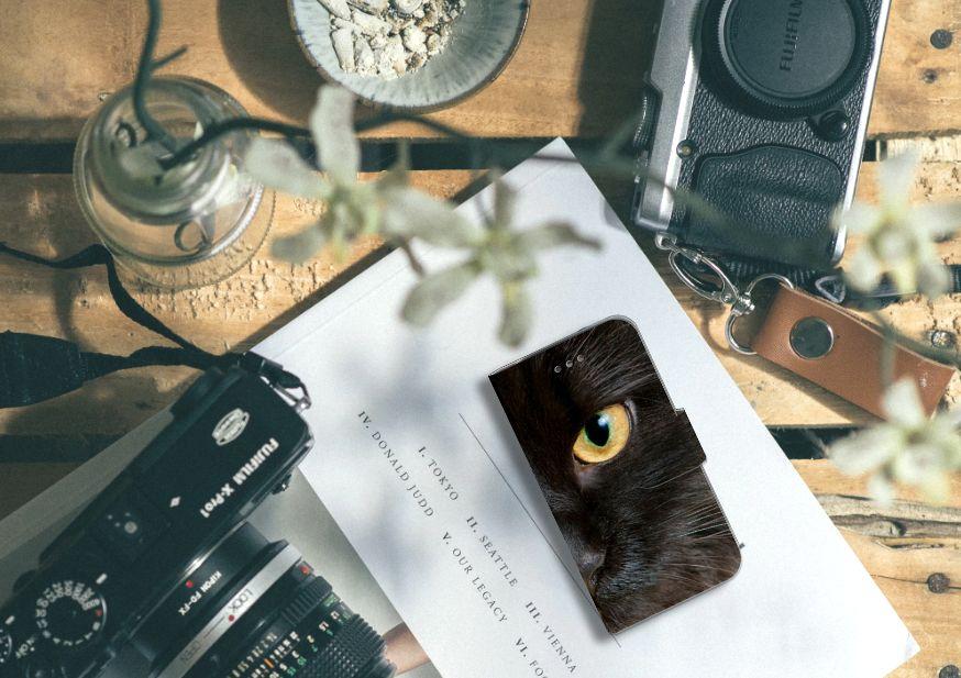 Samsung Galaxy S4 Telefoonhoesje met Pasjes Zwarte Kat