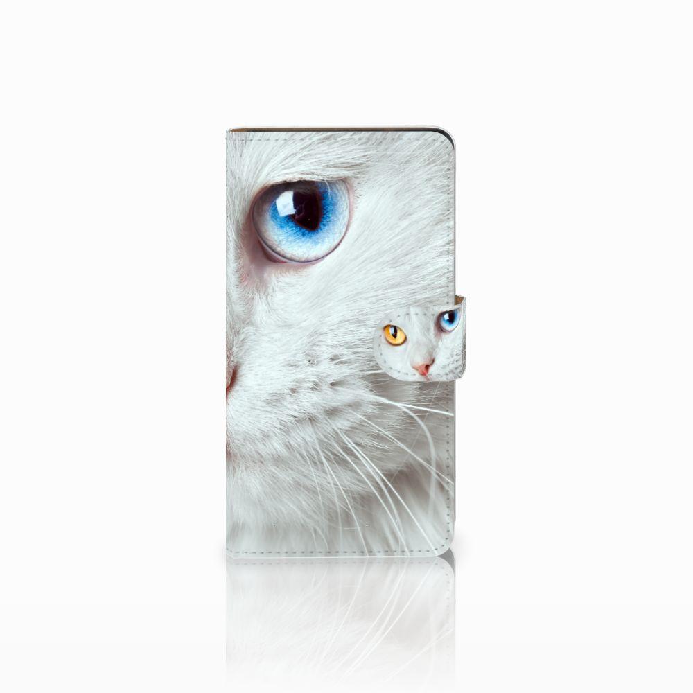 Huawei Ascend G700 Uniek Boekhoesje Witte Kat