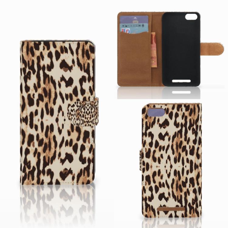 Wiko Lenny 3 Telefoonhoesje met Pasjes Leopard