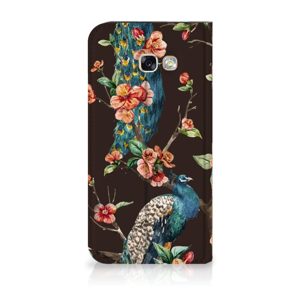 Samsung Galaxy A5 2017 Standcase Hoesje Design Pauw met Bloemen