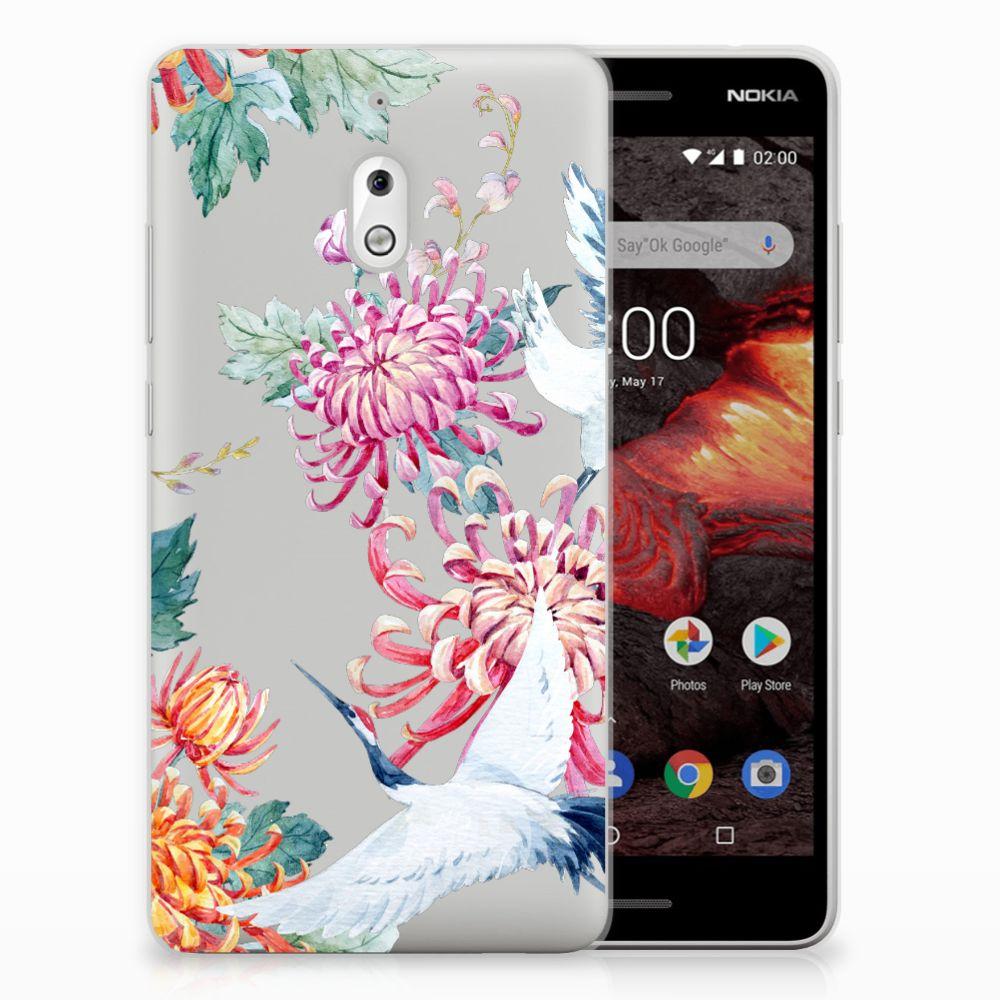 Nokia 2.1 (2018) TPU Hoesje Bird Flowers