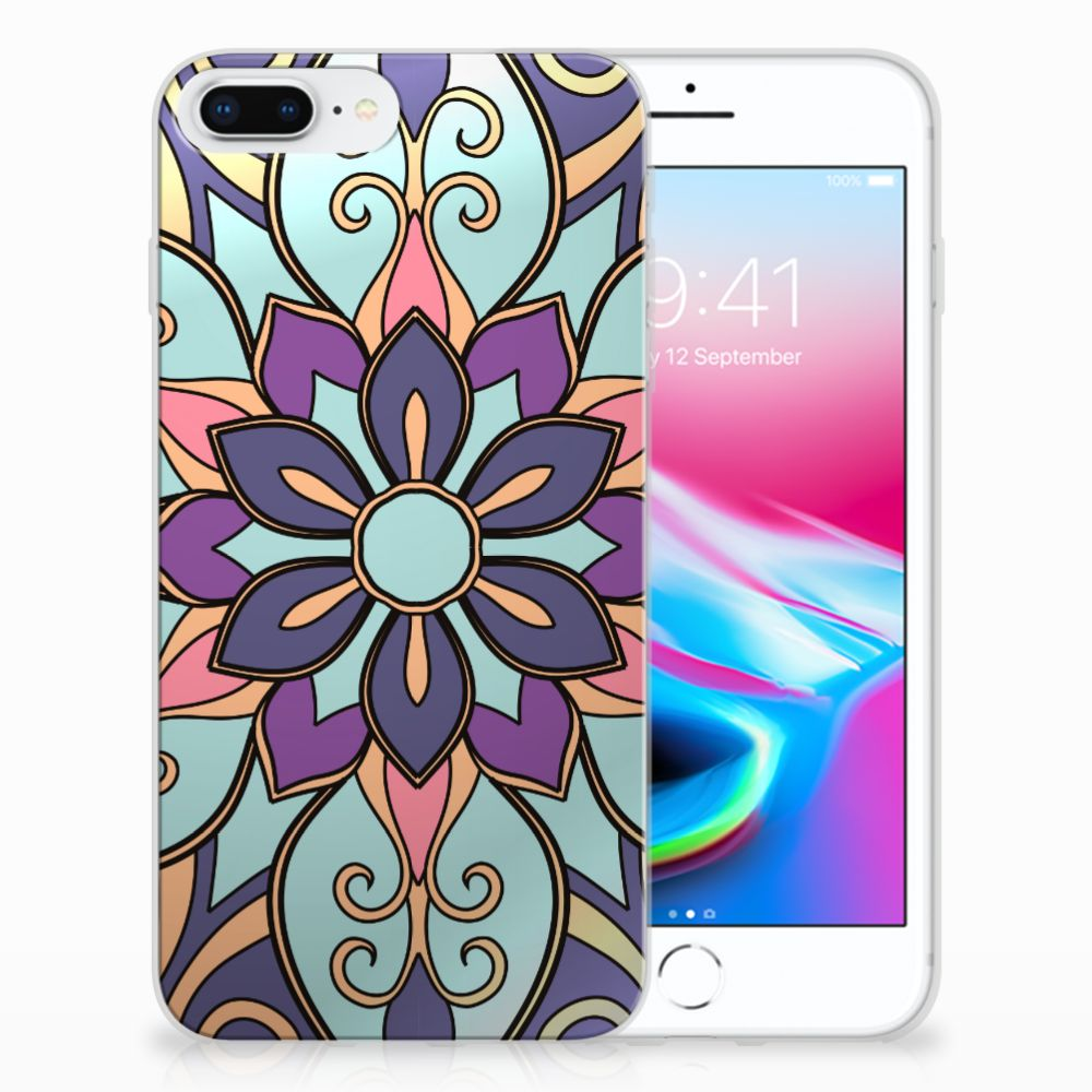 Apple iPhone 7 Plus | 8 Plus TPU Hoesje Design Purple Flower