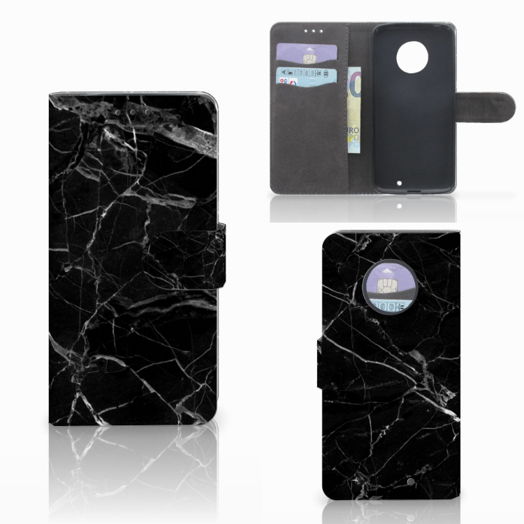 Motorola Moto X4 Bookcase Marmer Zwart