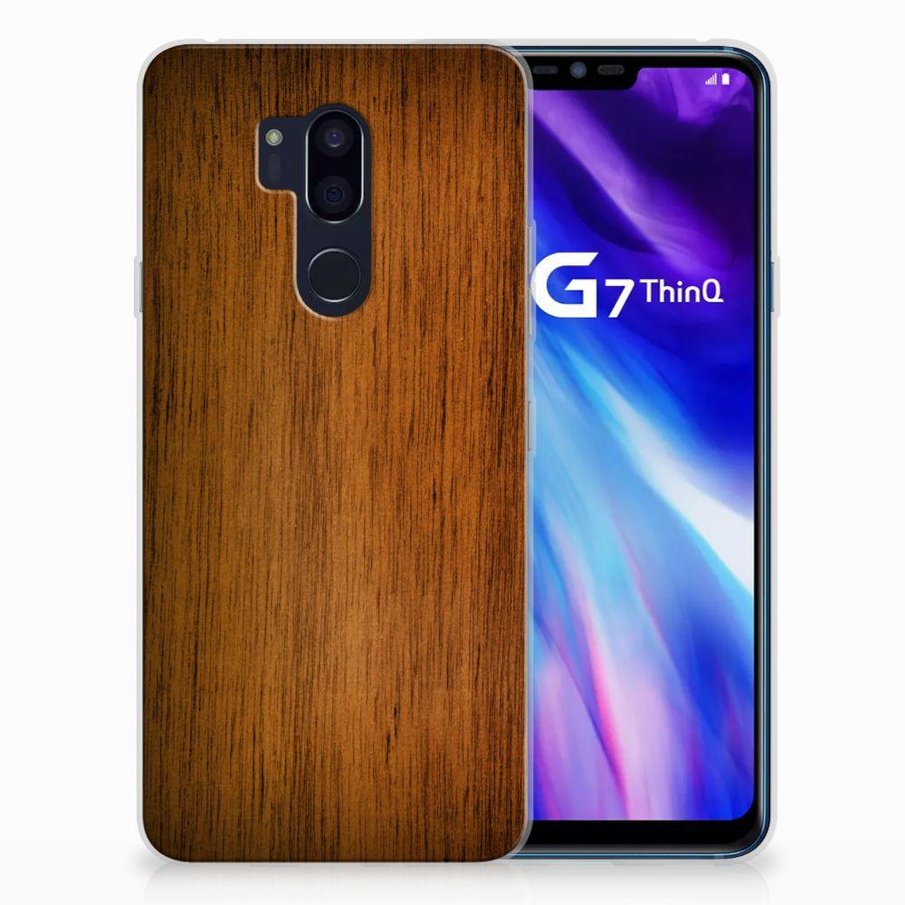 LG G7 Thinq Bumper Hoesje Donker Hout