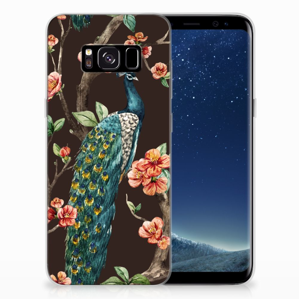Samsung Galaxy S8 TPU Hoesje Pauw met Bloemen