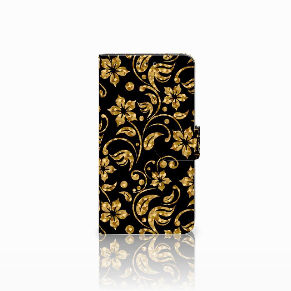 Huawei Honor 6X Boekhoesje Design Gouden Bloemen