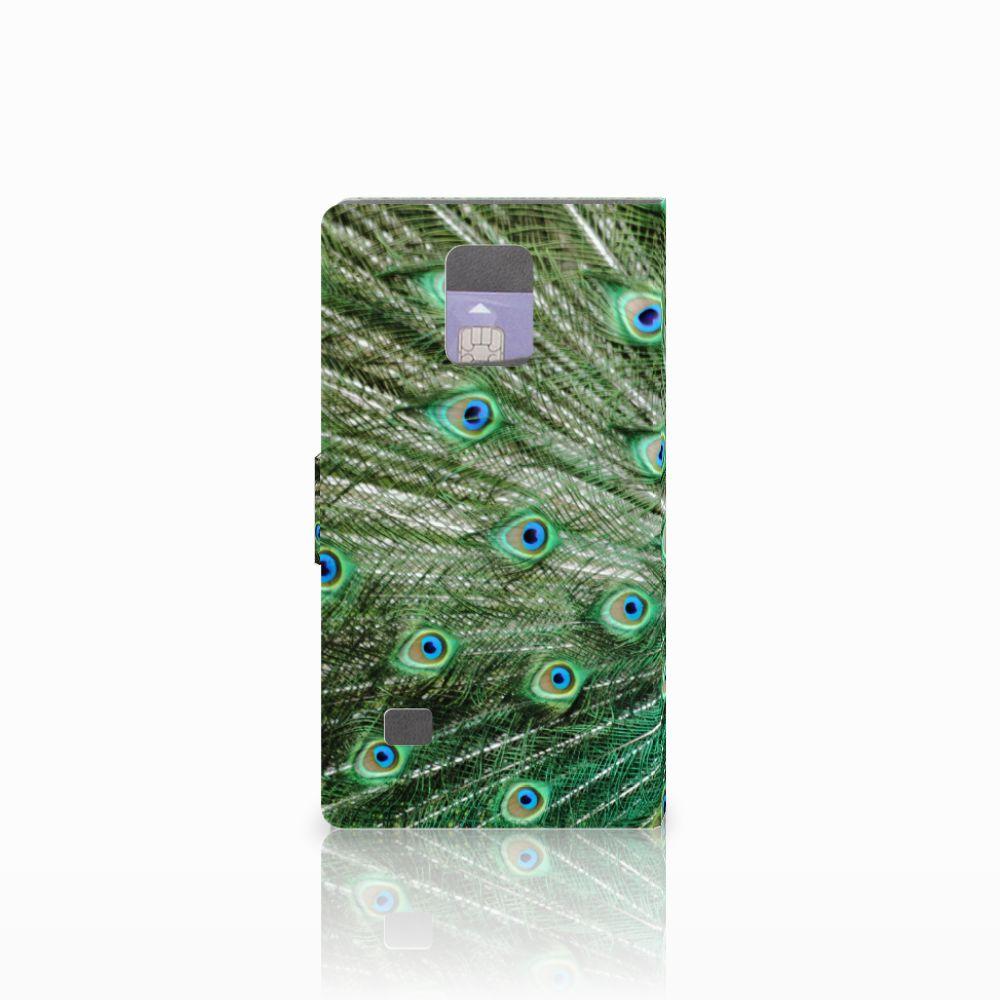 Samsung Galaxy Note 4 Telefoonhoesje met Pasjes Pauw