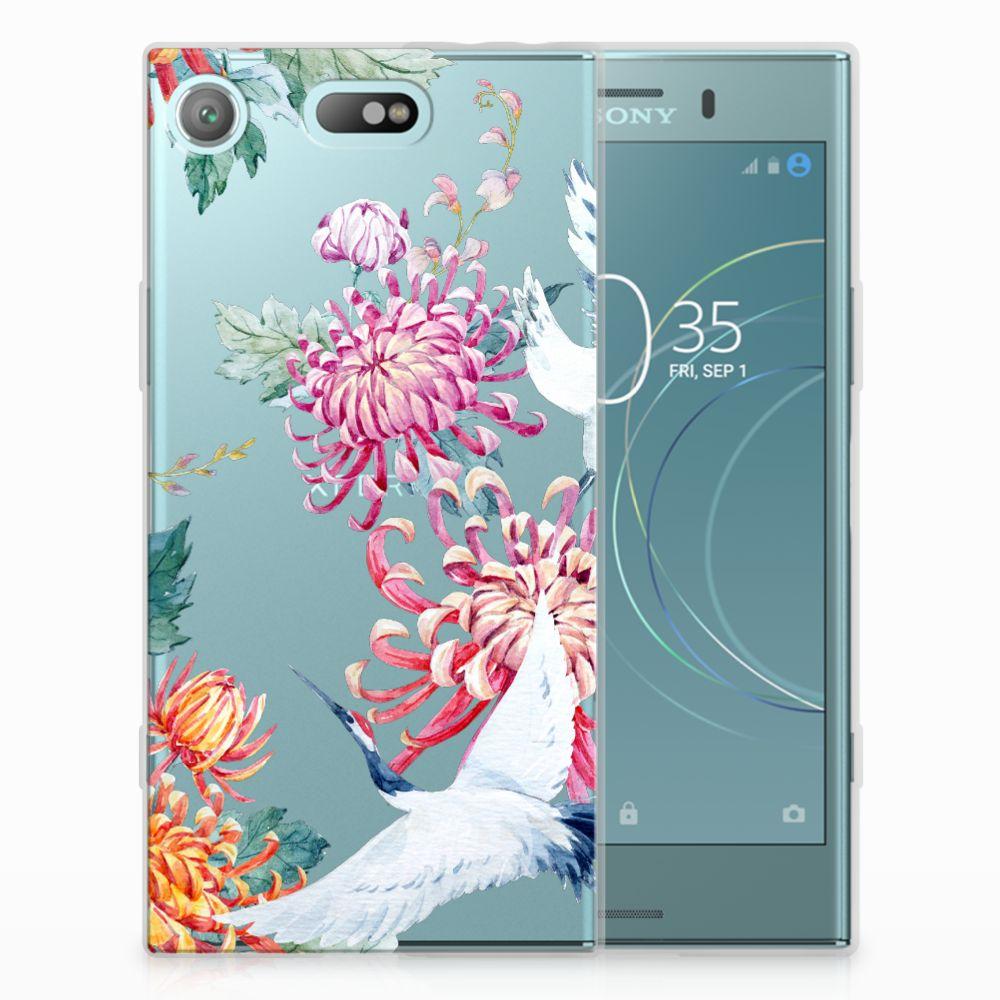 Sony Xperia XZ1 Compact Uniek TPU Hoesje Bird Flowers