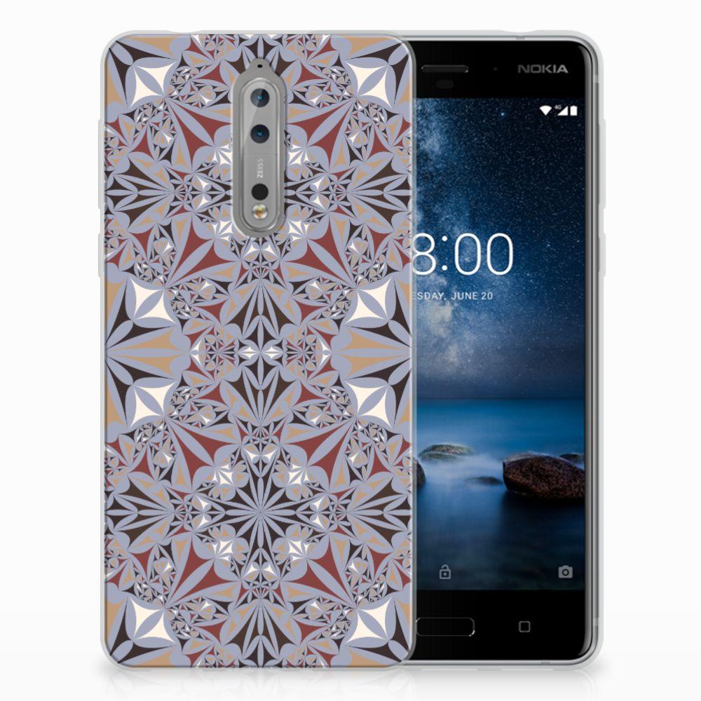 Nokia 8 TPU Hoesje Design Flower Tiles