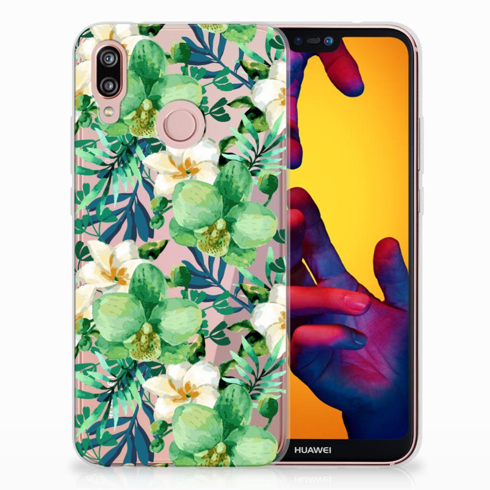 Huawei P20 Lite Uniek TPU Hoesje Orchidee Groen