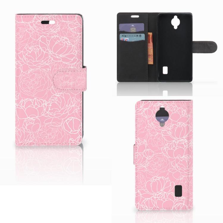 Huawei Y635 Wallet Case White Flowers