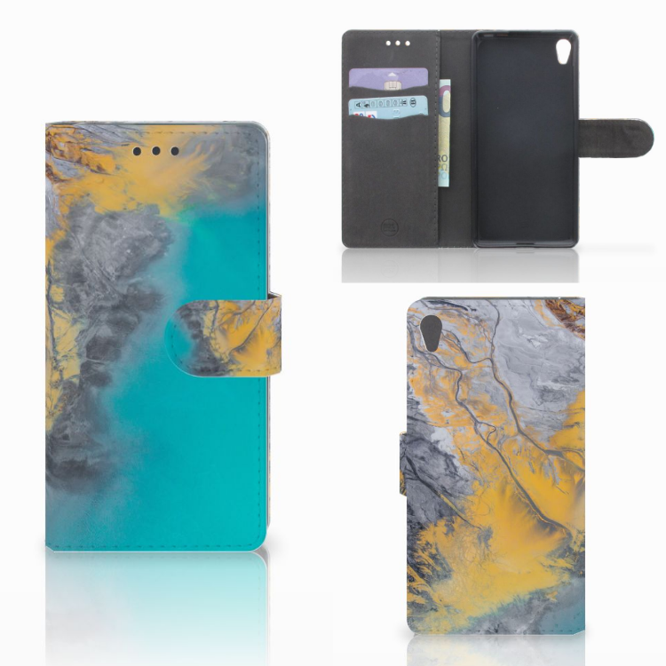 Sony Xperia E5 Bookcase Marble Blue Gold