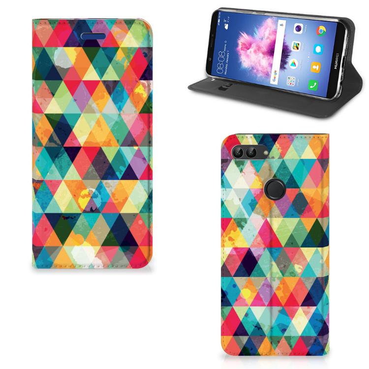 Huawei P Smart Hoesje met Magneet Geruit
