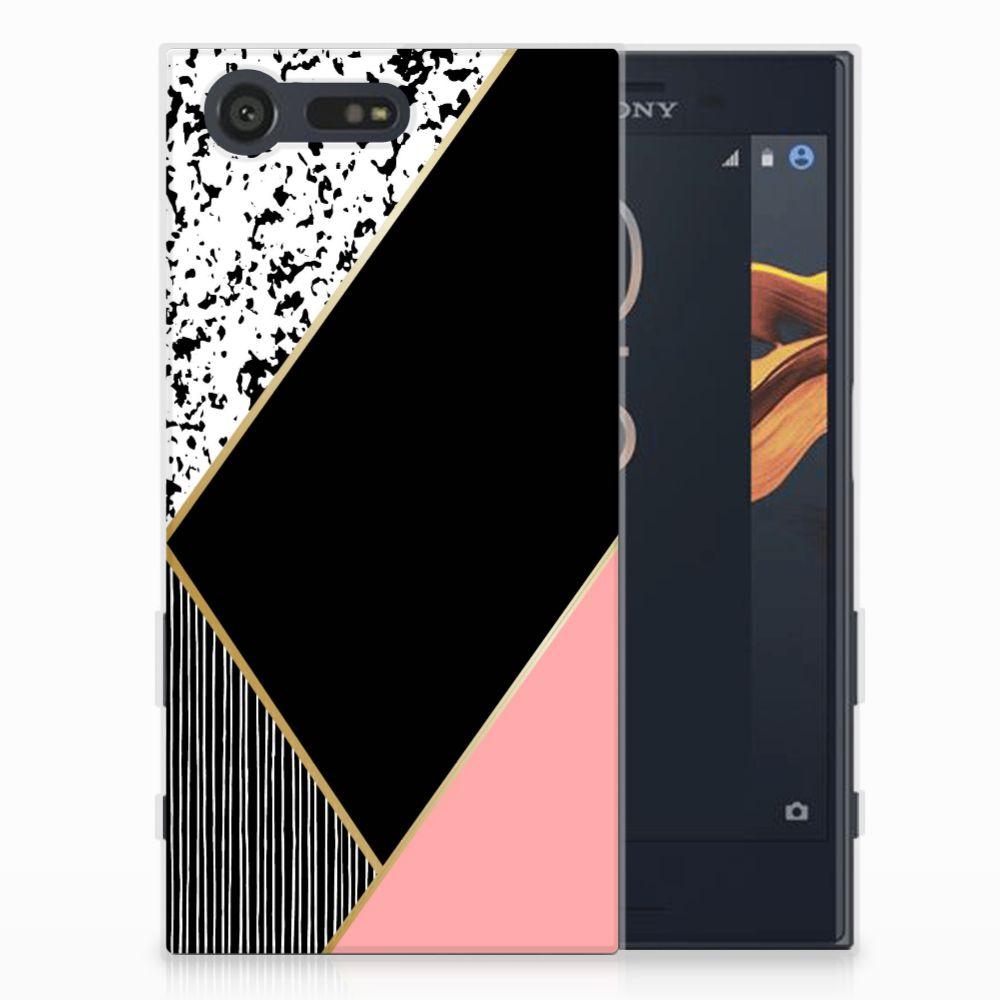 Sony Xperia X Compact Uniek TPU Hoesje Black Pink Shapes