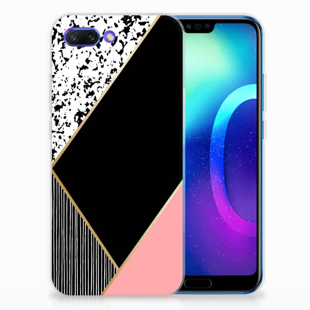 Huawei Honor 10 TPU Hoesje Zwart Roze Vormen