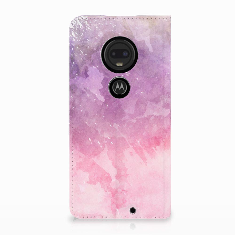 Motorola Moto G7 | G7 Plus Standcase Hoesje Design Pink Purple Paint