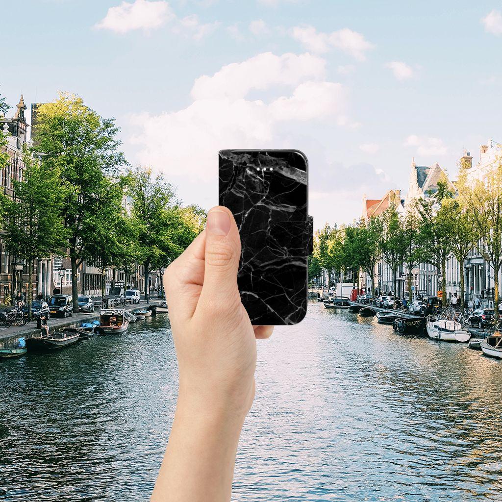 Apple iPhone 5 | 5s | SE Bookcase Marmer Zwart - Origineel Cadeau Vader