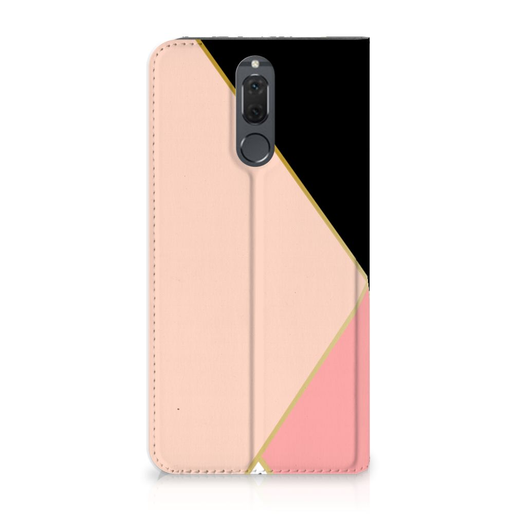 Huawei Mate 10 Lite Uniek Standcase Hoesje Black Pink Shapes