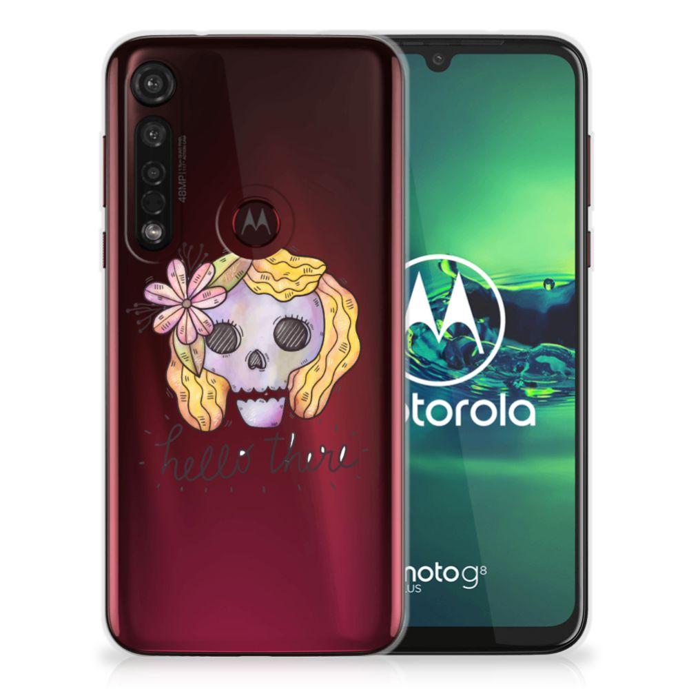 Silicone Back Case Motorola Moto G8 Plus Boho Skull