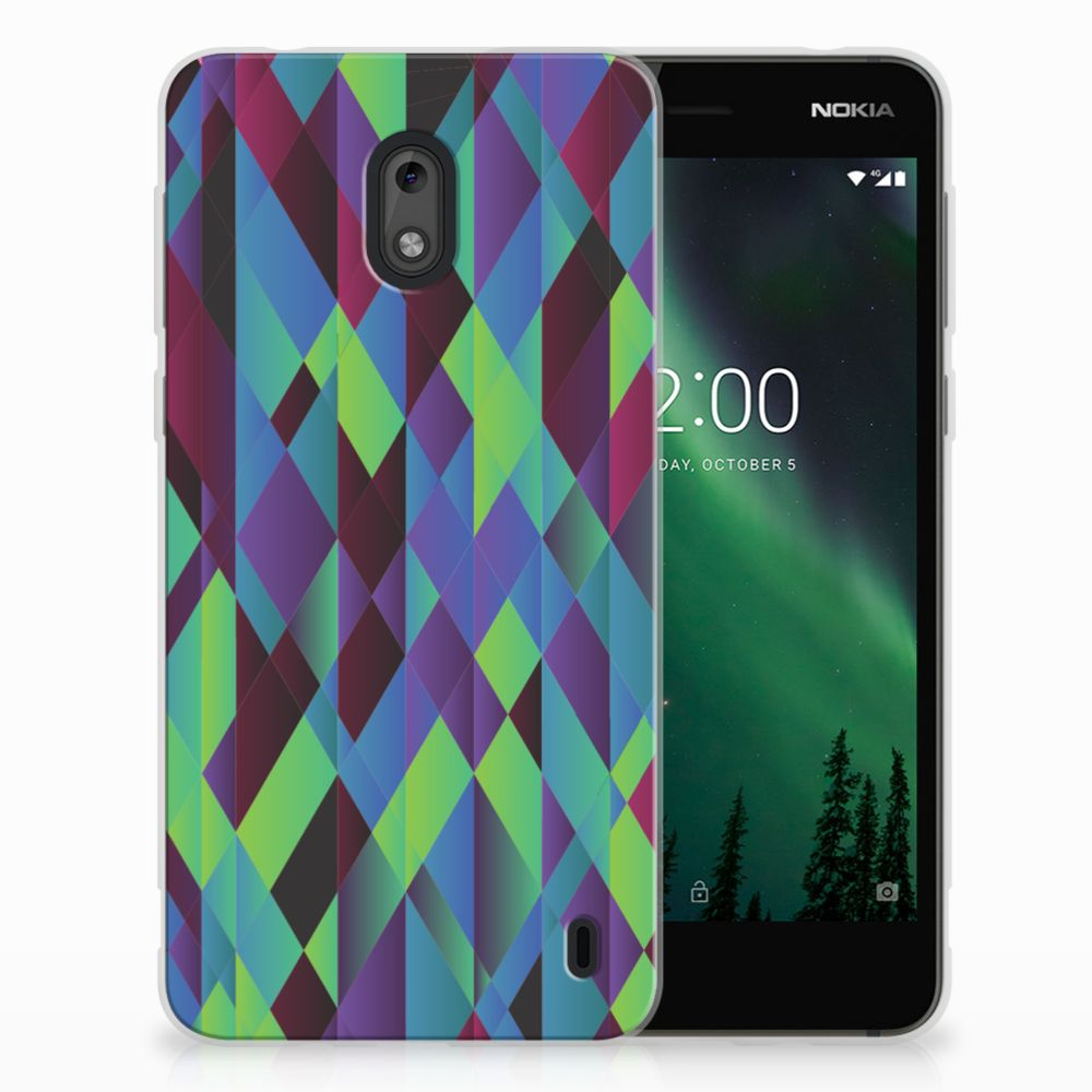 Nokia 2 TPU Hoesje Abstract Green Blue