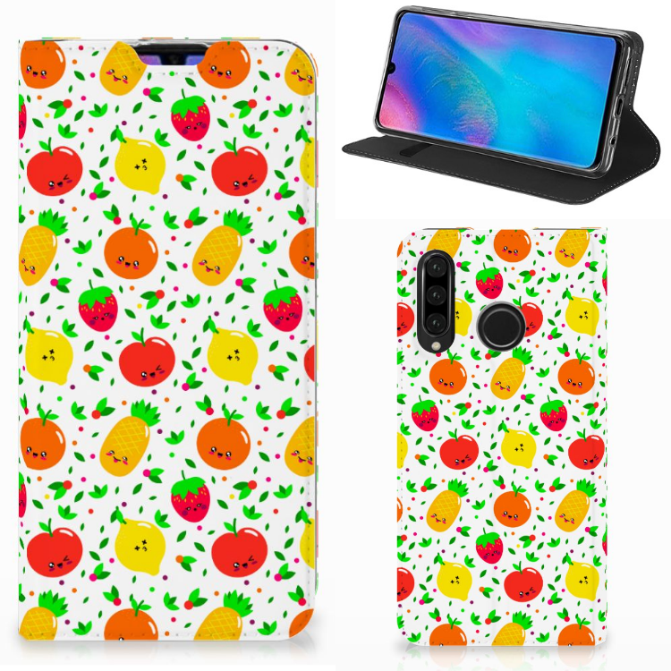 Huawei P30 Lite Flip Style Cover Fruits