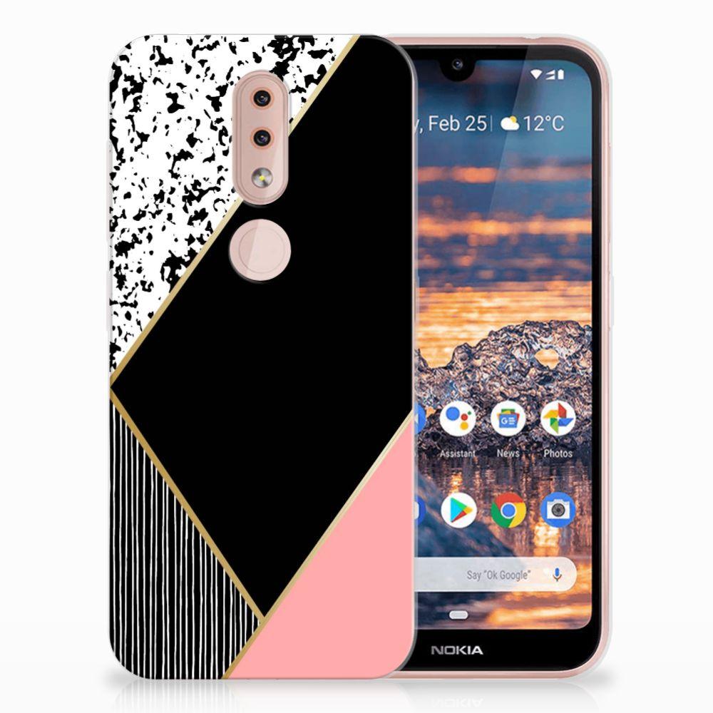 Nokia 4.2 TPU Hoesje Zwart Roze Vormen