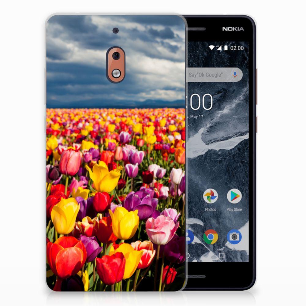 Nokia 2.1 (2018) Uniek TPU Hoesje Tulpen