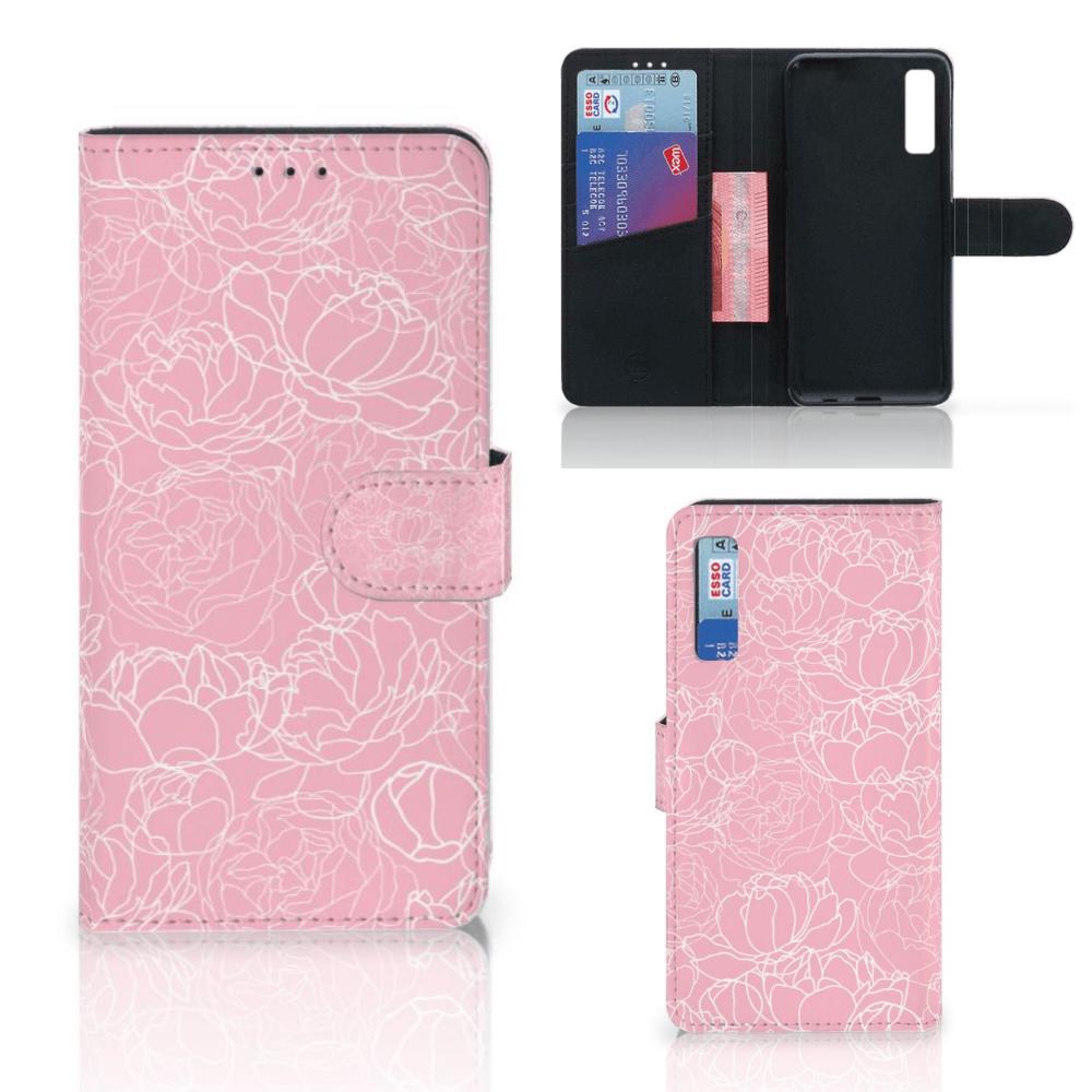 Samsung Galaxy A7 (2018) Wallet Case White Flowers
