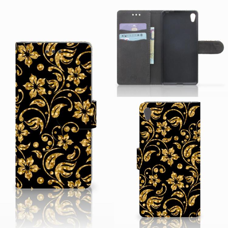 Sony Xperia E5 Hoesje Gouden Bloemen
