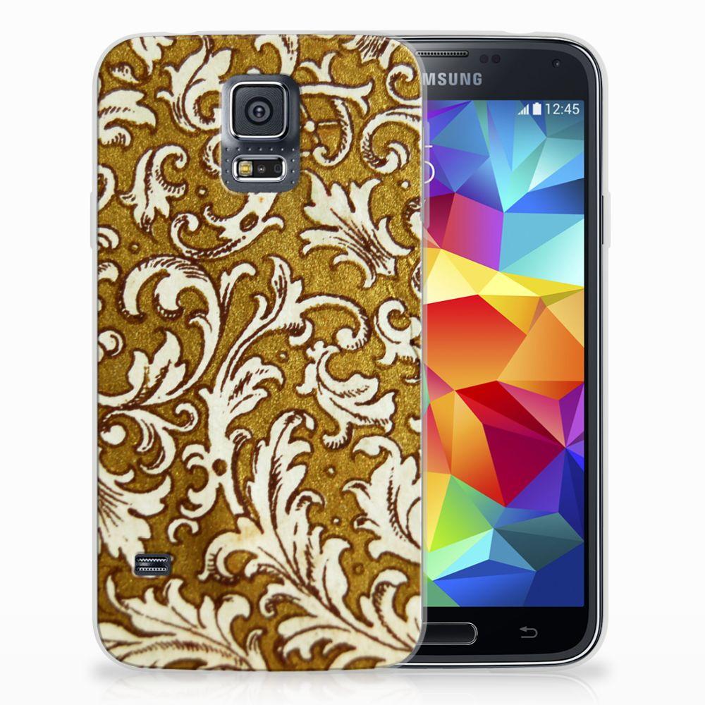 Siliconen Hoesje Samsung Galaxy S5 Barok Goud