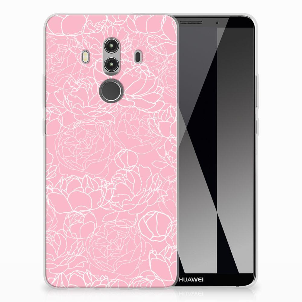 Huawei Mate 10 Pro Siliconen Hoesje White Flowers