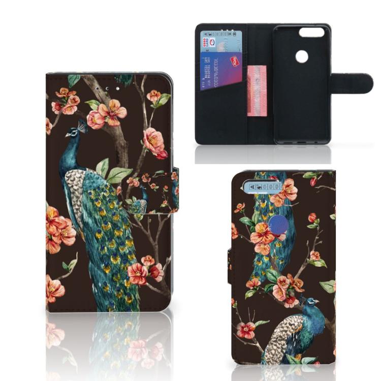 OnePlus 5T Telefoonhoesje met Pasjes Pauw met Bloemen