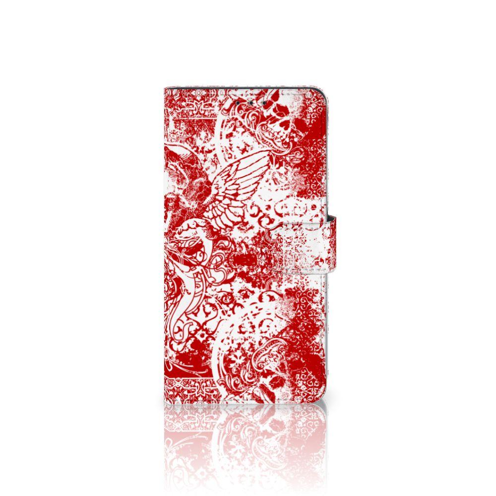 Samsung Galaxy A8 Plus (2018) Boekhoesje Design Angel Skull Red