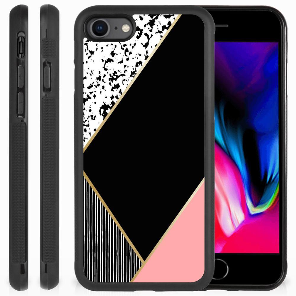 Apple iPhone 7 | 8 Grip Case Zwart Roze Vormen