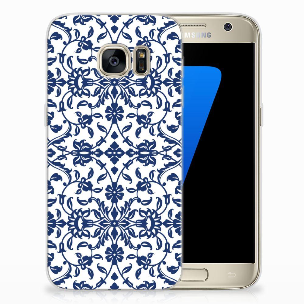 Samsung Galaxy S7 TPU Hoesje Flower Blue