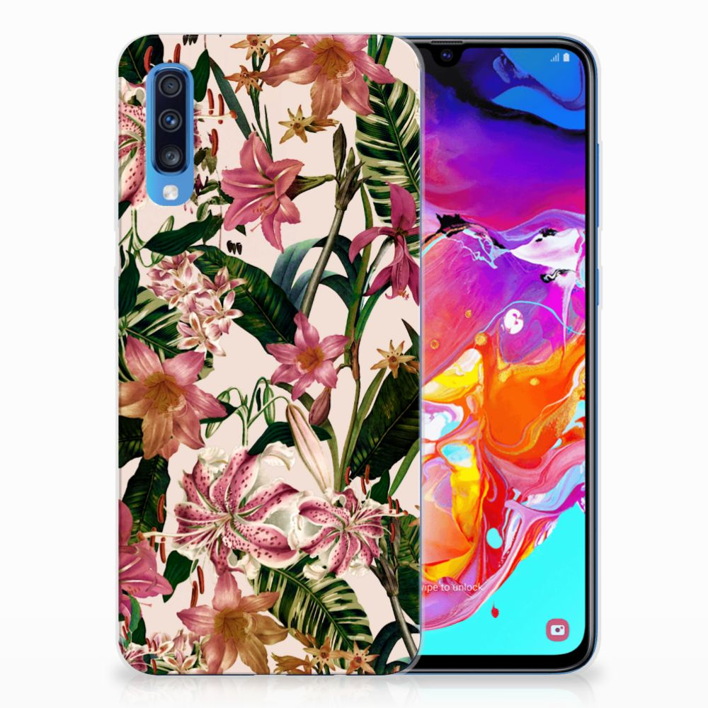Samsung Galaxy A70 Uniek TPU Hoesje Flowers