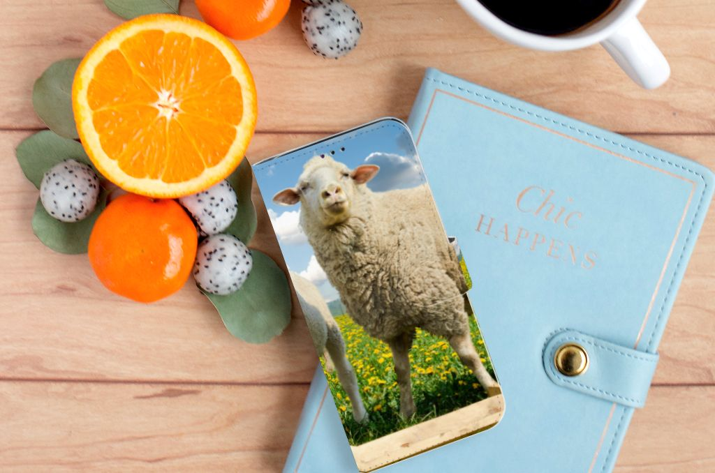 Samsung Galaxy A70 Telefoonhoesje met Pasjes Schaap en Lammetje