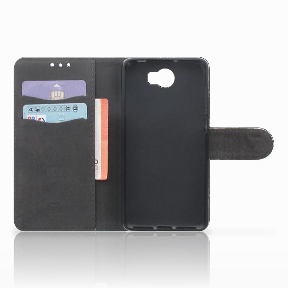 Huawei Y5 2 | Y6 II Compact Uniek Boekhoesje Marmer Zwart