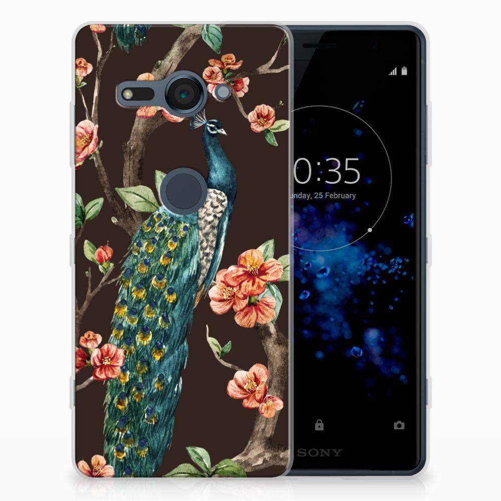 Sony Xperia XZ2 Compact TPU Hoesje Pauw met Bloemen