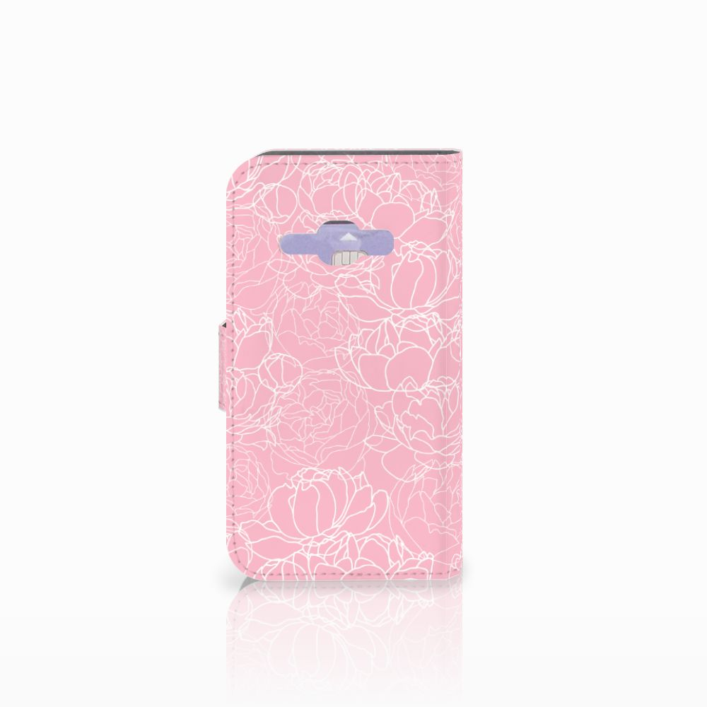 Samsung Galaxy J1 2016 Wallet Case White Flowers