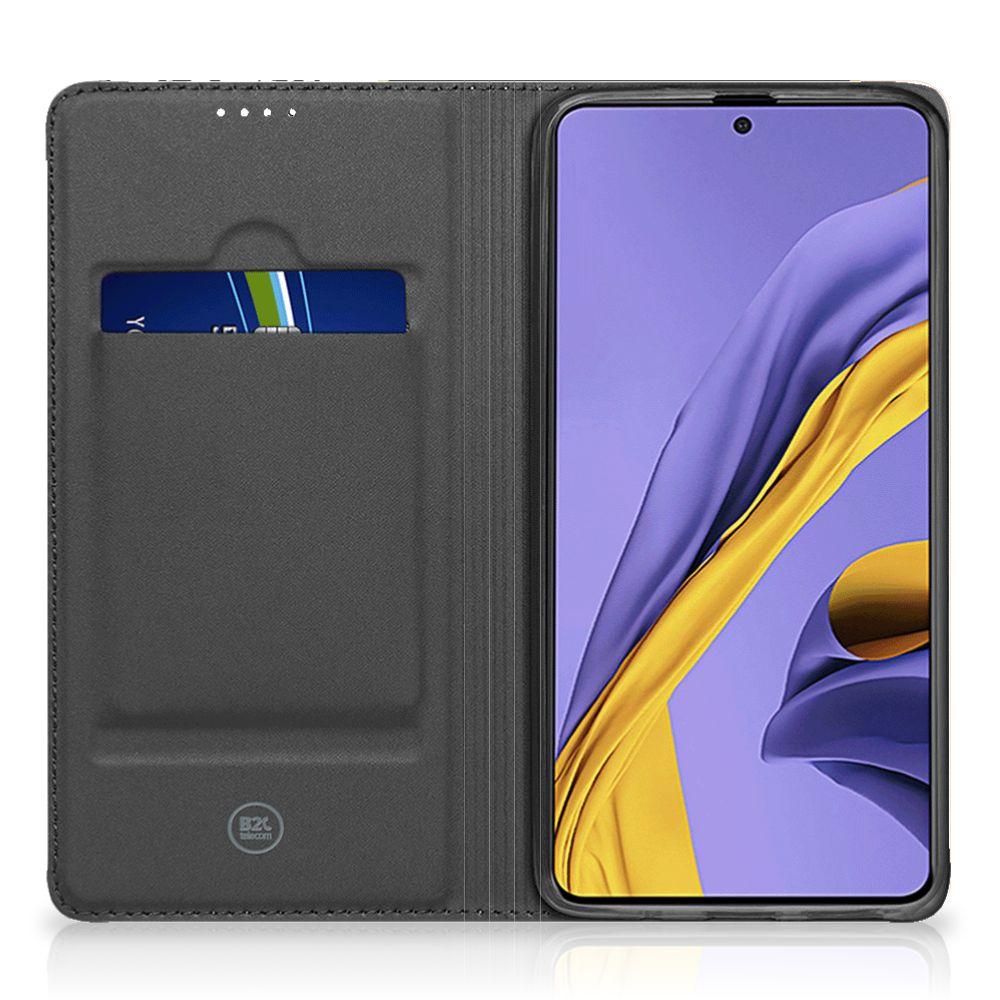 Samsung Galaxy A51 Stand Case Zwart Roze Vormen