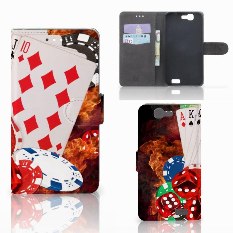 Huawei Ascend G7 Wallet Case met Pasjes Casino