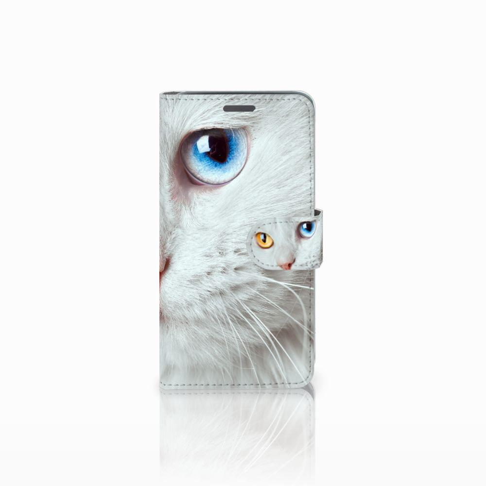 Wiko Rainbow Jam Telefoonhoesje met Pasjes Witte Kat