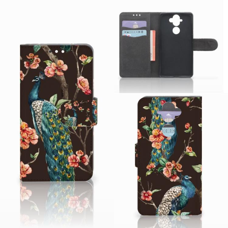 Nokia 8 Sirocco | Nokia 9 Telefoonhoesje met Pasjes Pauw met Bloemen