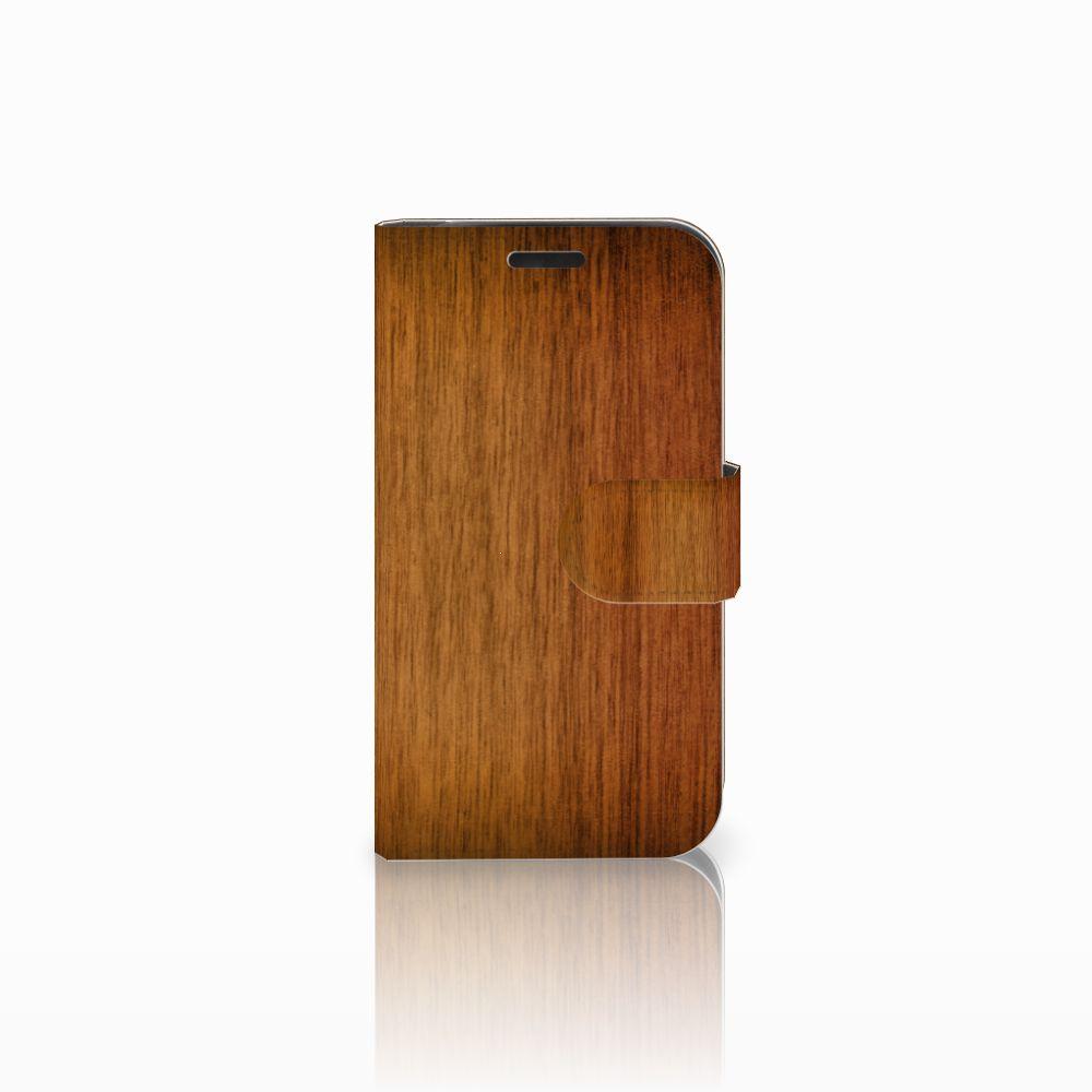 LG K4 Uniek Boekhoesje Donker Hout