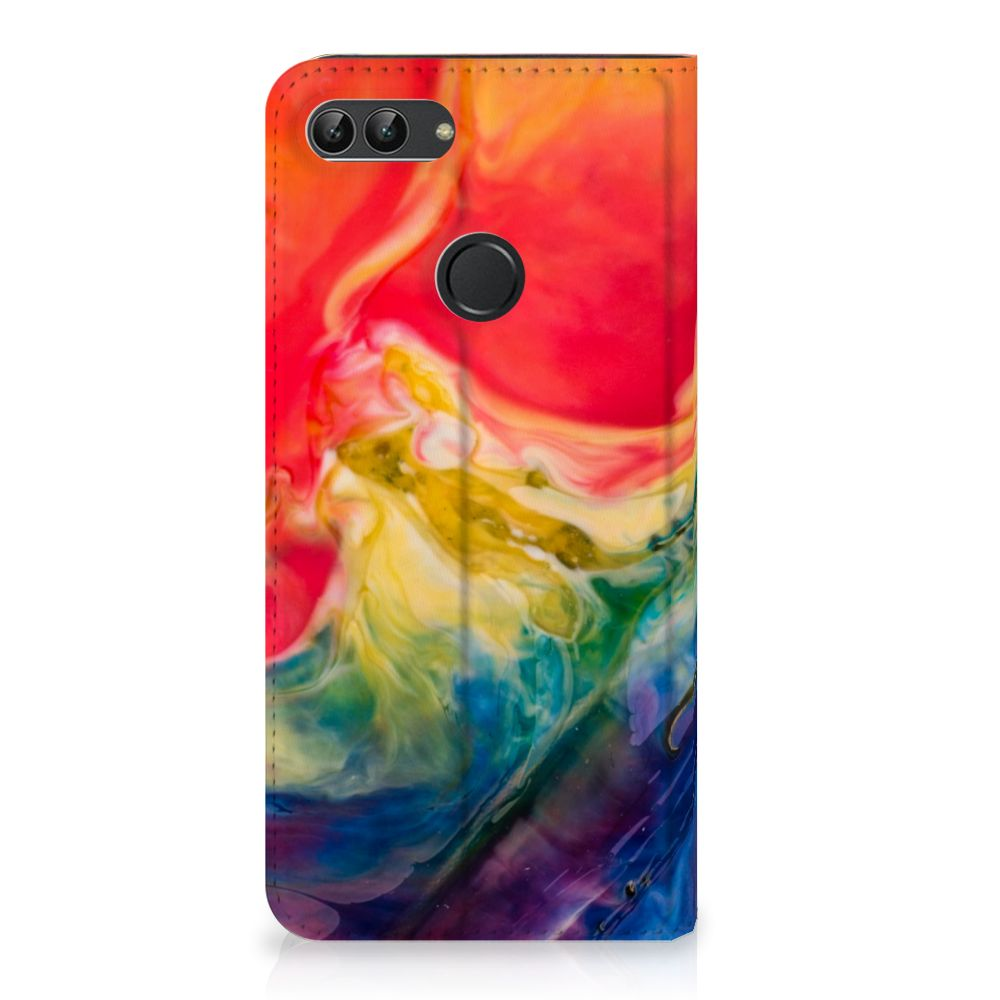 Huawei P Smart Uniek Standcase Hoesje Watercolor Dark