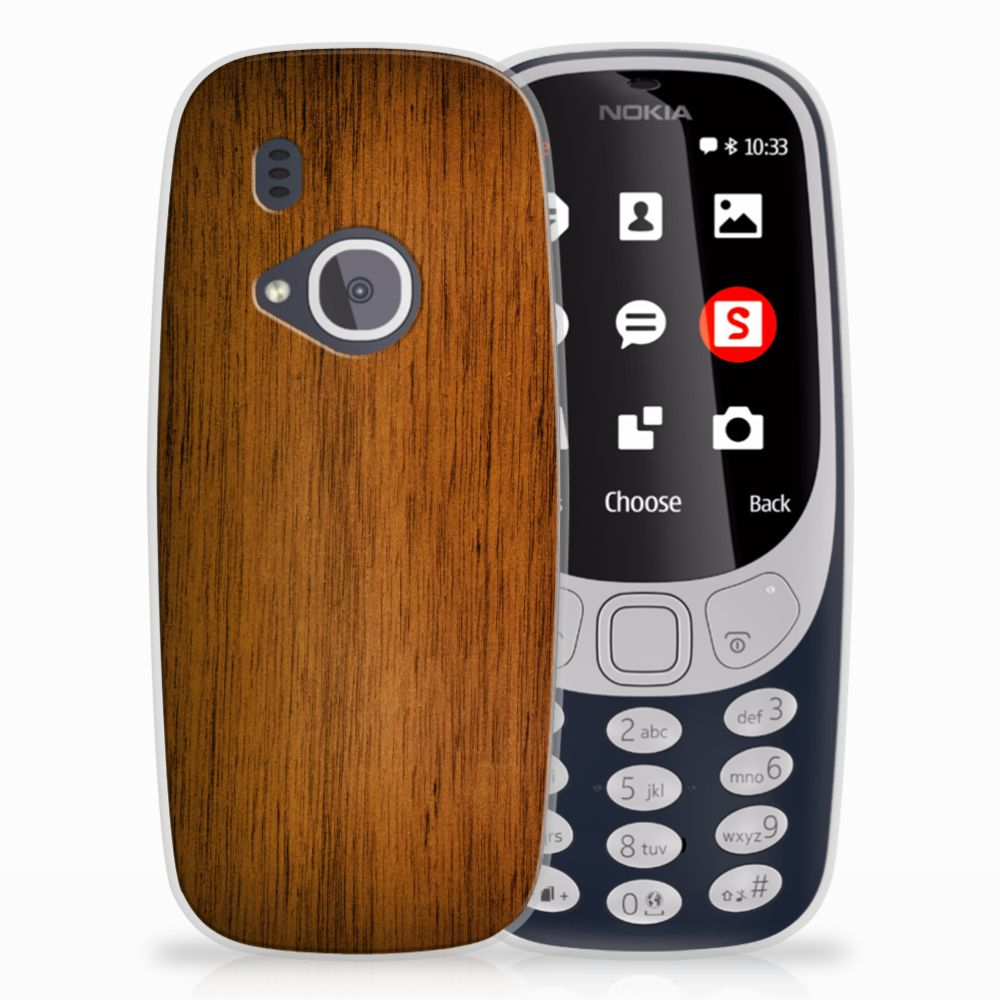 Nokia 3310 (2017) Uniek TPU Hoesje Donker Hout