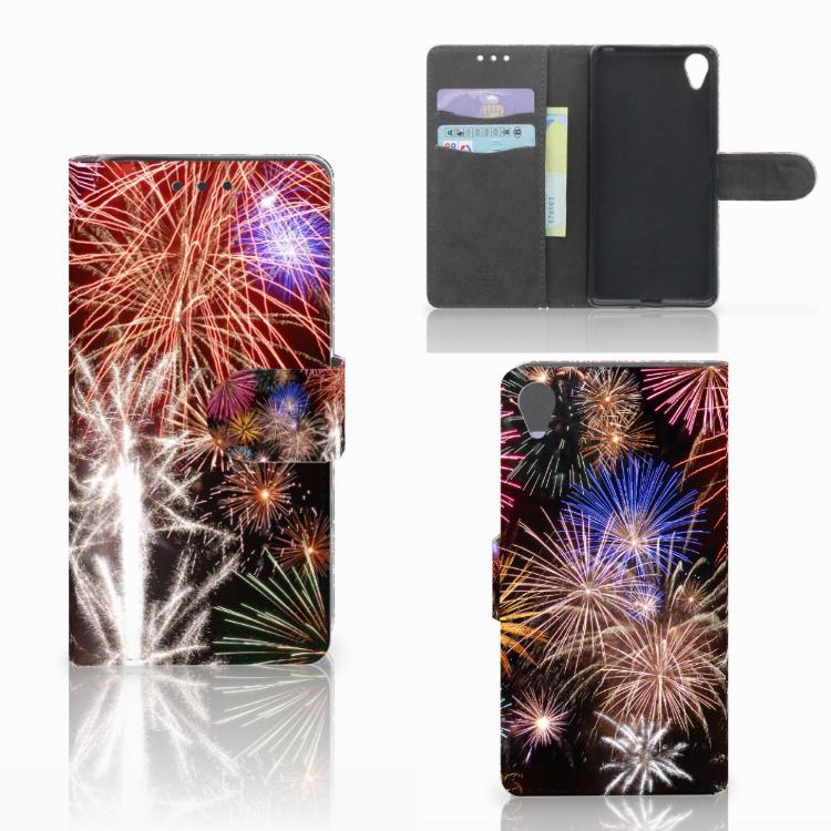 Sony Xperia X Wallet Case met Pasjes Vuurwerk