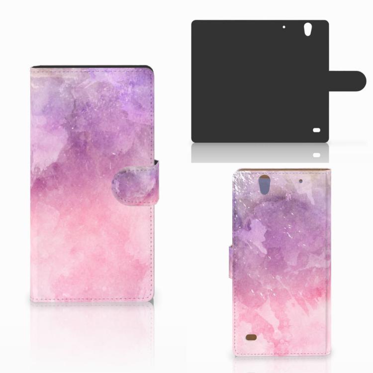 Hoesje Sony Xperia C4 Pink Purple Paint