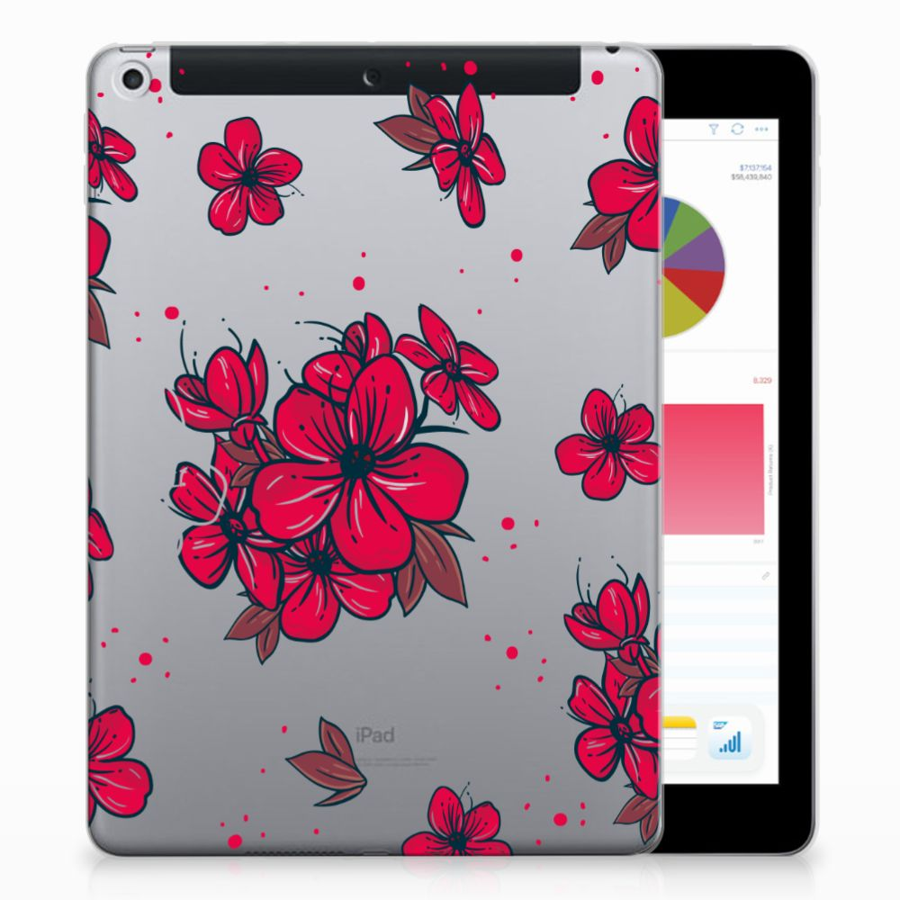 Apple iPad 9.7 2018 | 2017 Tablethoesje Design Blossom Red